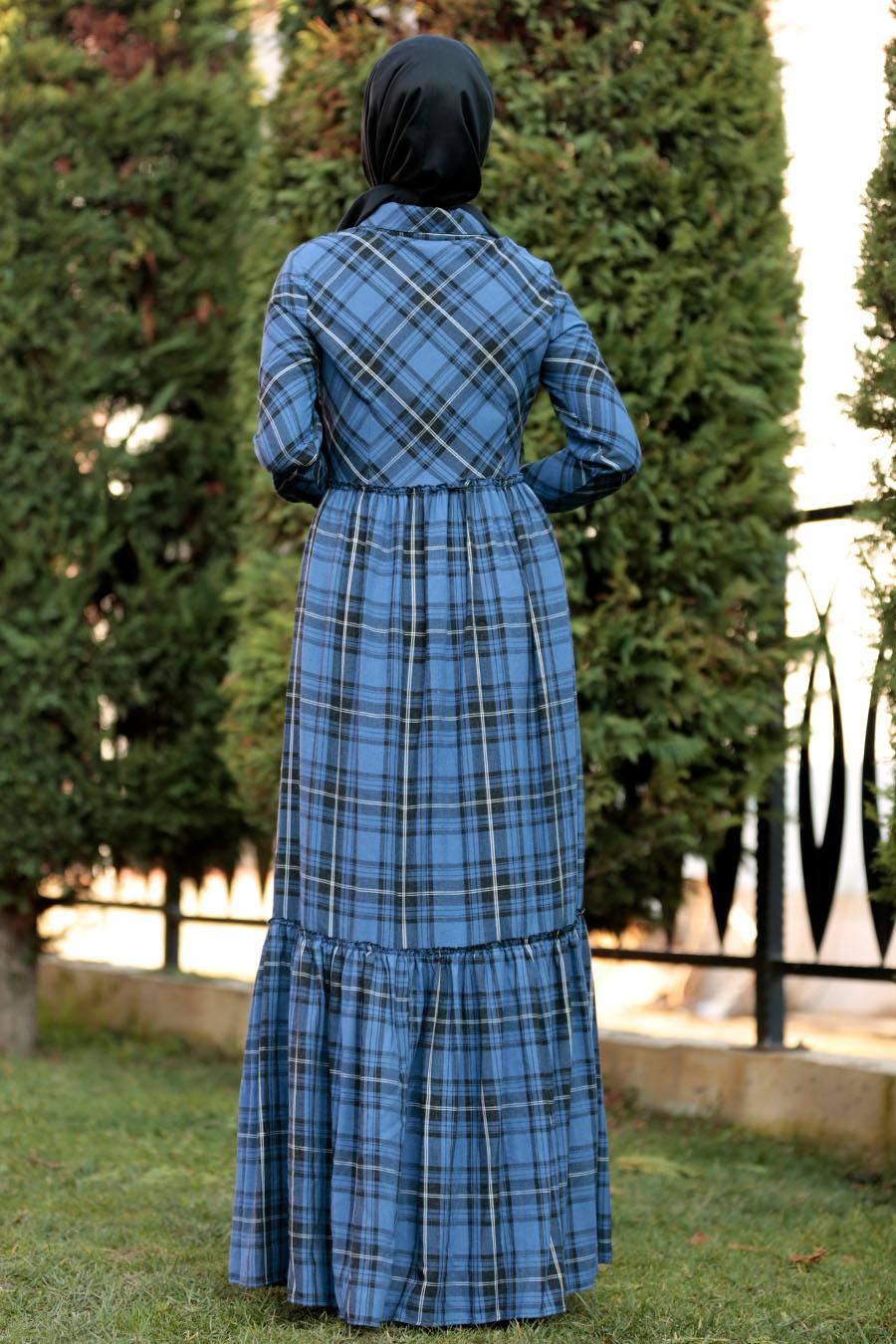 Nayla Collection - Düğmeli Ekoseli İndigo Mavisi Tesettür Elbise 8405IM