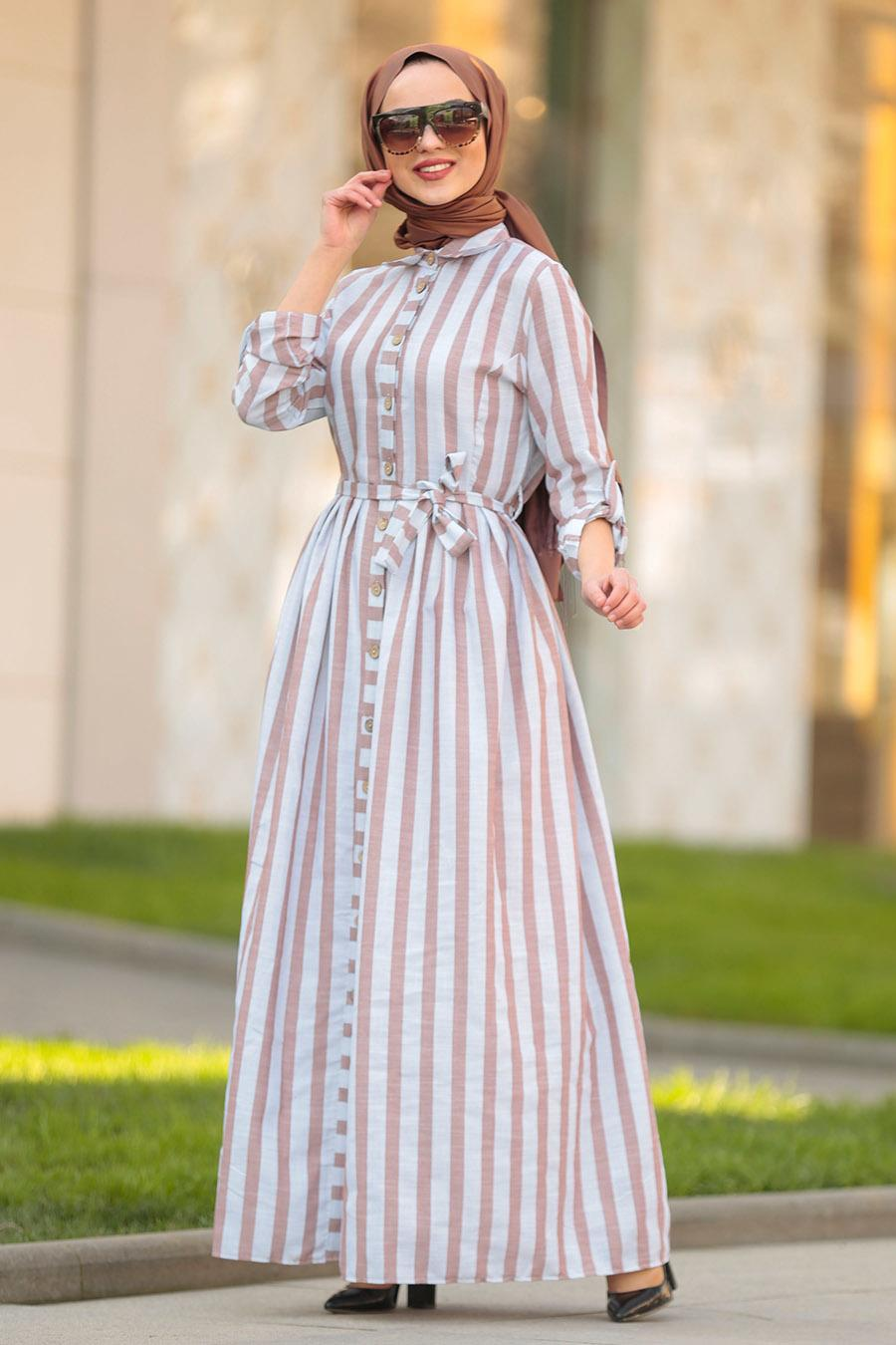 Nayla Collection - Düğmeli Kahverengi Tesettür Elbise 162460KH