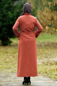 Nayla Collection - Düğmeli Kiremit Tesettür Kaşe Kaban 4428KRMT - Thumbnail