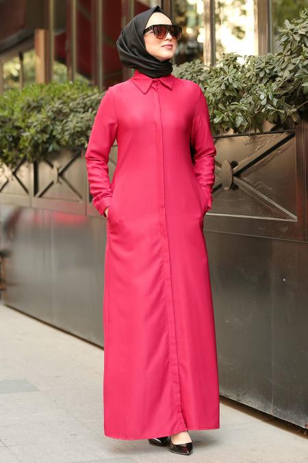 Nayla Collection - Düğmeli Kırmızı Tesettür Elbise 53720K