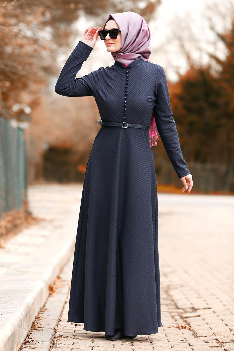 Nayla Collection - Düğmeli Mor Tesettür Elbise 8440MOR