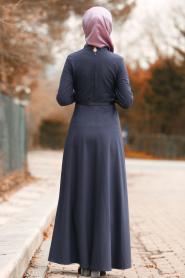 Nayla Collection - Düğmeli Mor Tesettür Elbise 8440MOR - Thumbnail