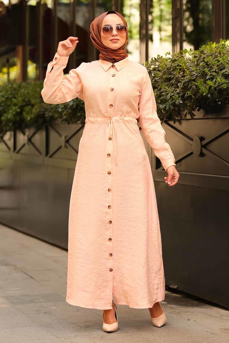 Nayla Collection - Düğmeli Somon Tesettür Elbise 1668SMN