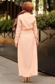 Nayla Collection - Düğmeli Somon Tesettür Elbise 1668SMN - Thumbnail