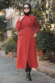 Nayla Collection - Düğmeli Taba Tesettür Kaşe Kaban 4428TB - Thumbnail