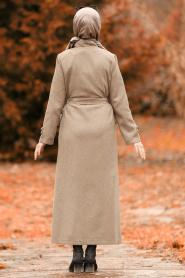Nayla Collection - Düğmeli Vizon Tesettür Kaşe Kaban 4428V - Thumbnail