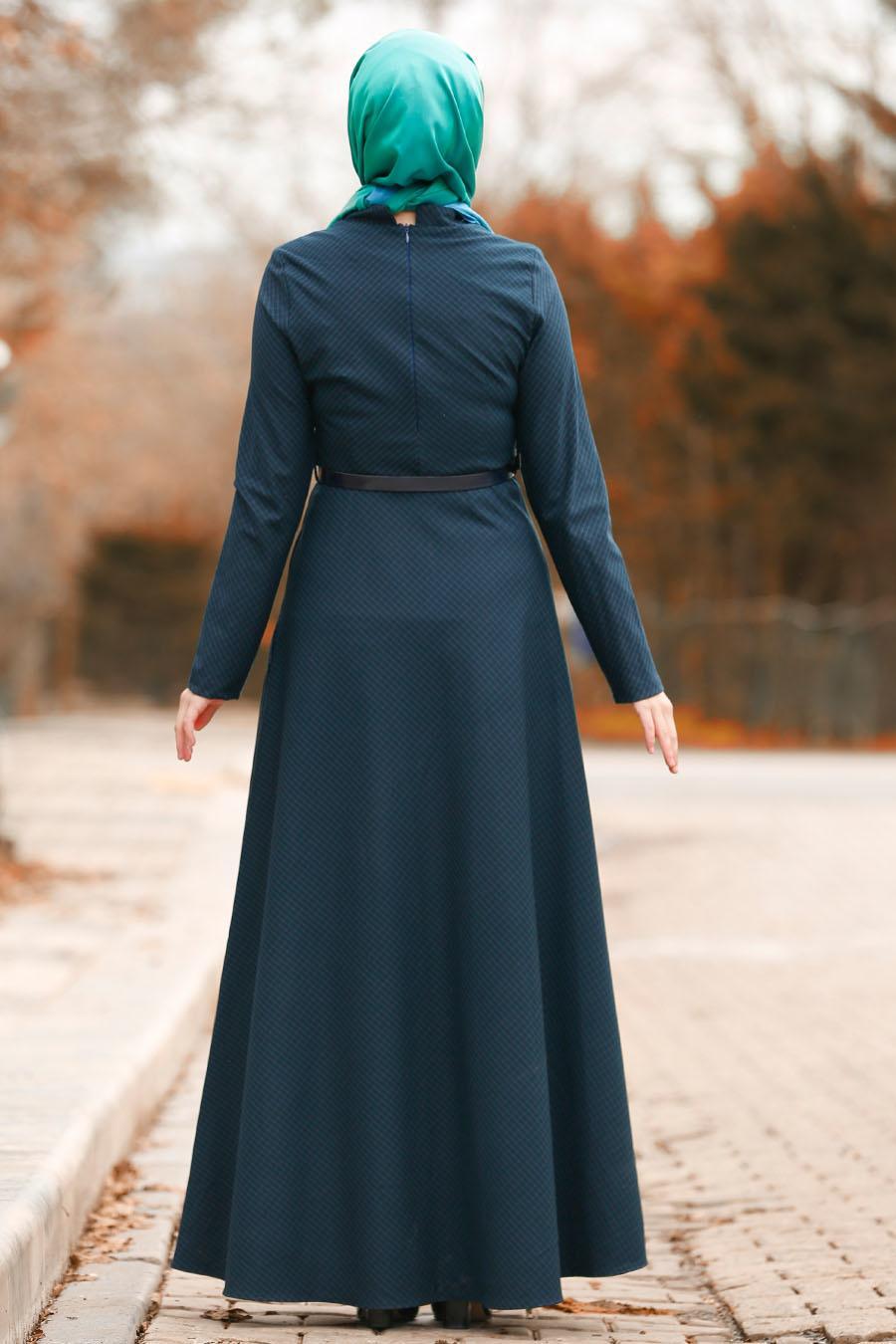 Nayla Collection - Düğmeli Yeşil Tesettür Elbise 8440Y
