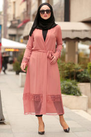 Nayla Collection - Dusty Rose Hijab Coat 3273GK - Thumbnail