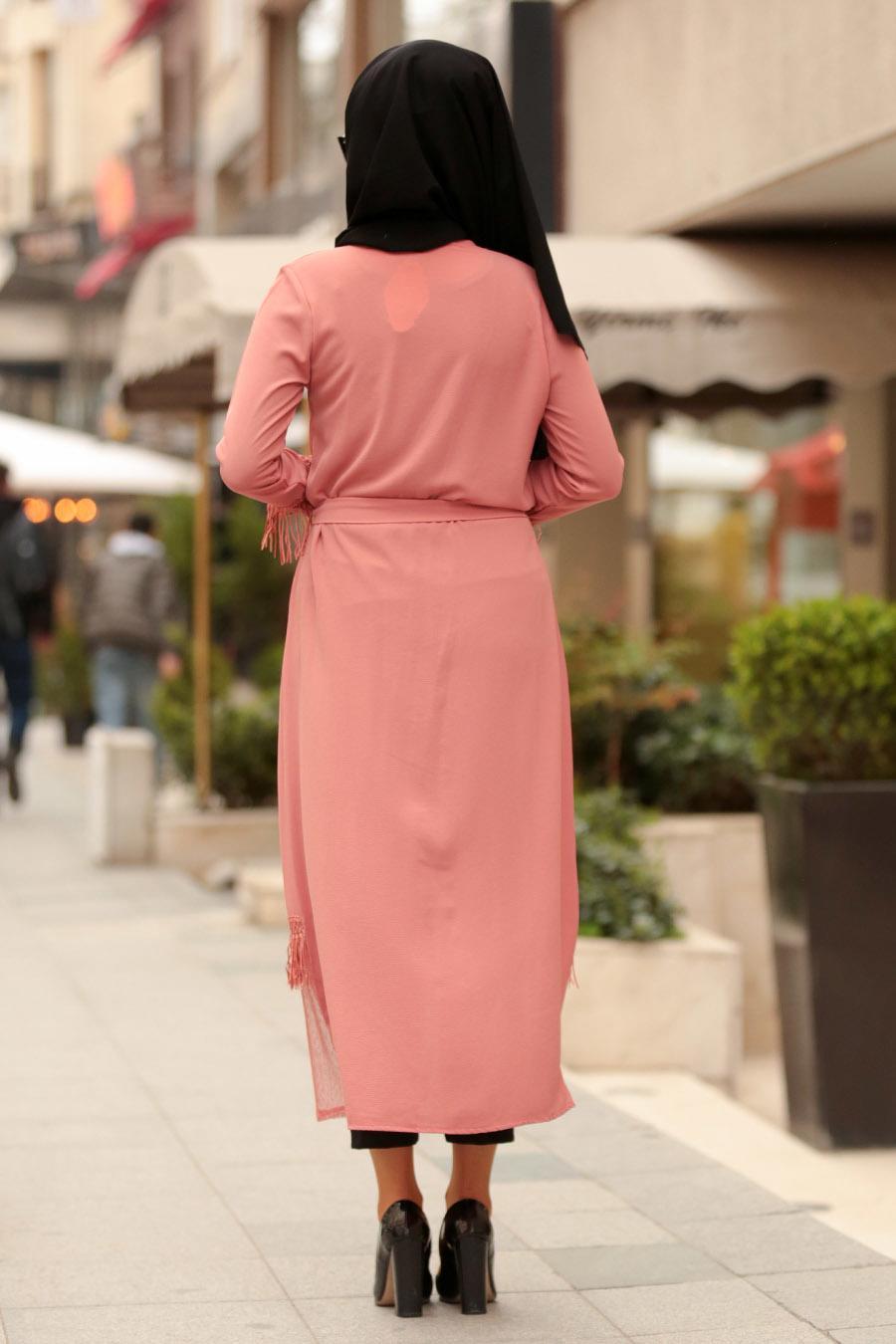 Nayla Collection - Dusty Rose Hijab Coat 3273GK