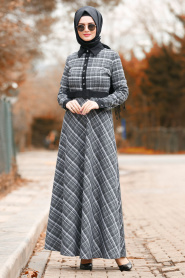 Nayla Collection - Ekoseli Füme Tesettür Elbise 8369FU - Thumbnail