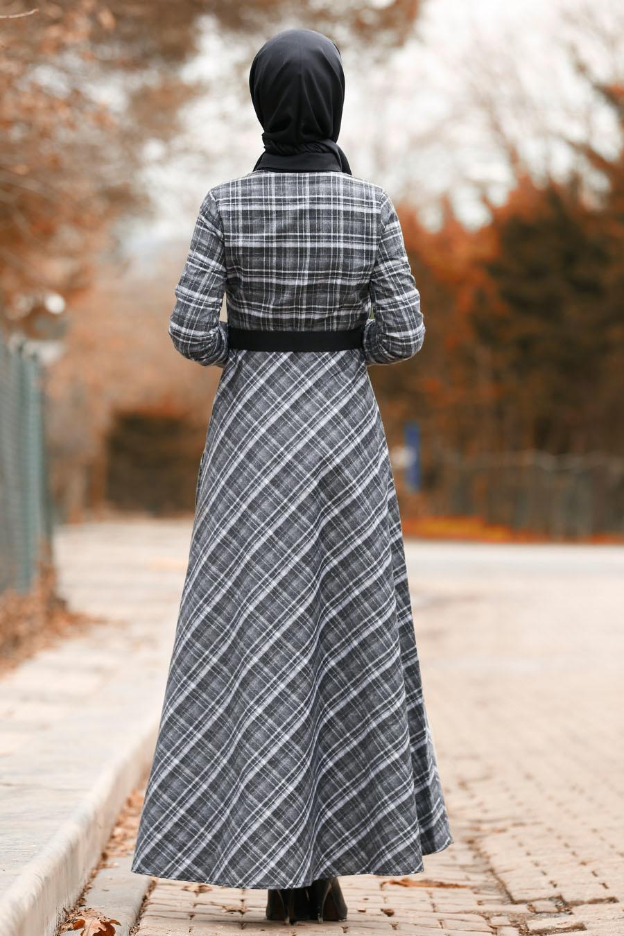 Nayla Collection - Ekoseli Füme Tesettür Elbise 8369FU