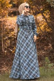 Nayla Collection - Ekoseli İndigo Mavisi Tesettür Gömlek Elbise 8364IM - Thumbnail