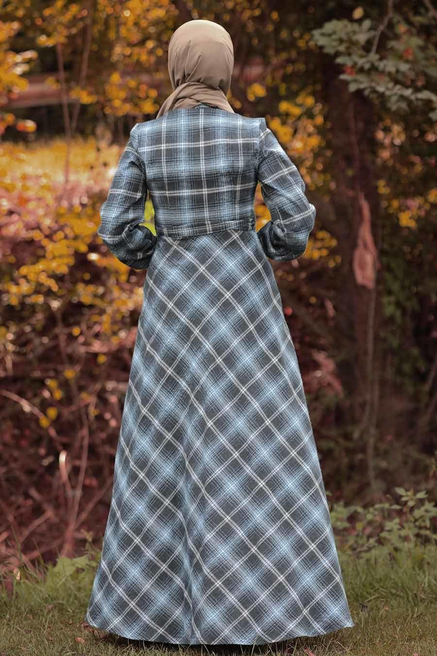 Nayla Collection - Ekoseli İndigo Mavisi Tesettür Gömlek Elbise 8364IM