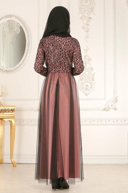 Nayla Collection - Eteği Tül Detaylı Pudra Tesettür Abiye Elbise 25665PD