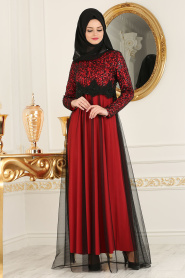 Nayla Collection - Eteği Tüllü Payet Detaylı Kırmızı Tesettür Abiye Elbise 12013K - Thumbnail