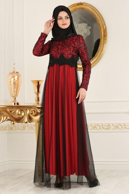 Nayla Collection - Eteği Tüllü Payet Detaylı Kırmızı Tesettür Abiye Elbise 12013K