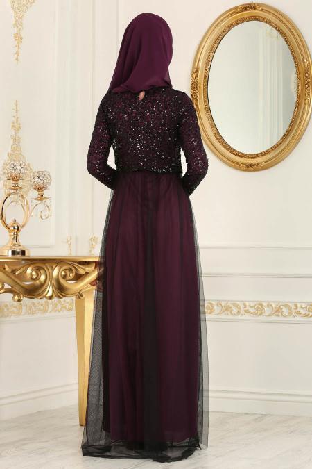 Nayla Collection - Eteği Tüllü Payet Detaylı Mürdüm Tesettür Abiye Elbise 12013MU