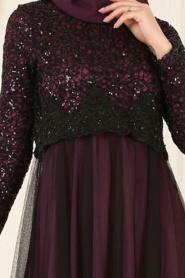 Nayla Collection - Eteği Tüllü Payet Detaylı Mürdüm Tesettür Abiye Elbise 12013MU - Thumbnail