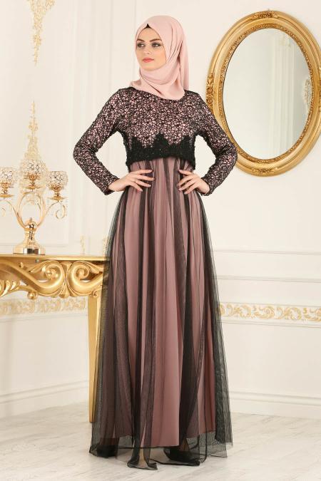 Nayla Collection - Eteği Tüllü Payet Detaylı Pudra Tesettür Abiye Elbise 12013PD