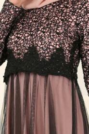 Nayla Collection - Eteği Tüllü Payet Detaylı Pudra Tesettür Abiye Elbise 12013PD - Thumbnail