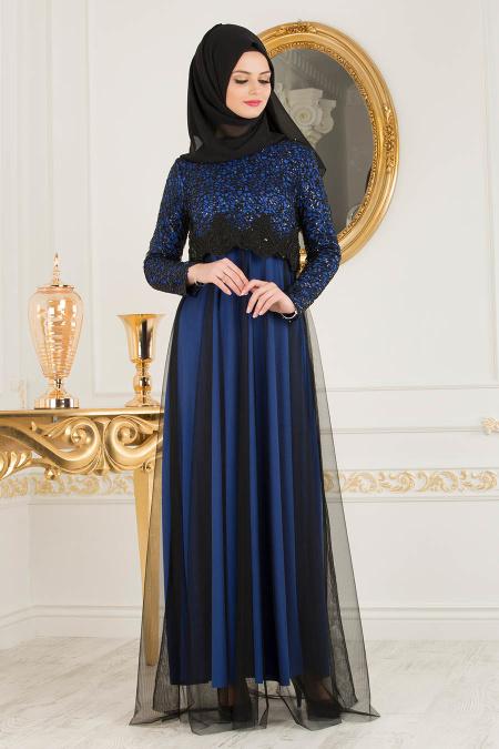Nayla Collection - Eteği Tüllü Payet Detaylı Sax Mavisi Tesettür Abiye Elbise 12013SX