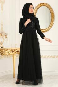 Nayla Collection - Eteği Tüllü Payet Detaylı Siyah Tesettür Abiye Elbise 12013S - Thumbnail