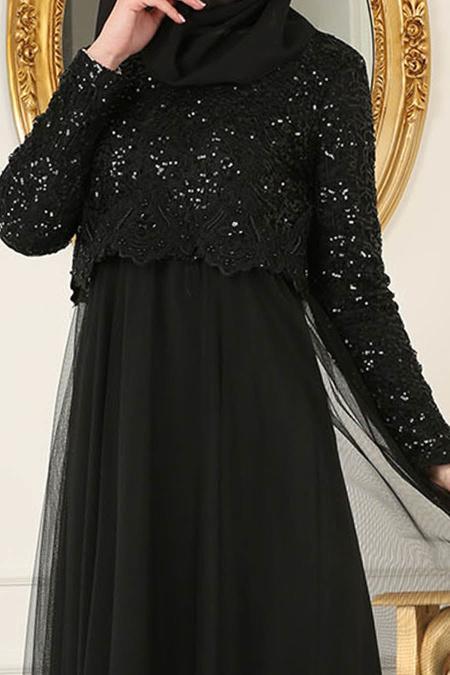 Nayla Collection - Eteği Tüllü Payet Detaylı Siyah Tesettür Abiye Elbise 12013S