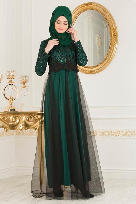 Nayla Collection - Eteği Tüllü Payet Detaylı Yeşil Tesettür Abiye Elbise 12013Y