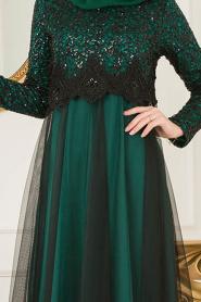 Nayla Collection - Eteği Tüllü Payet Detaylı Yeşil Tesettür Abiye Elbise 12013Y - Thumbnail