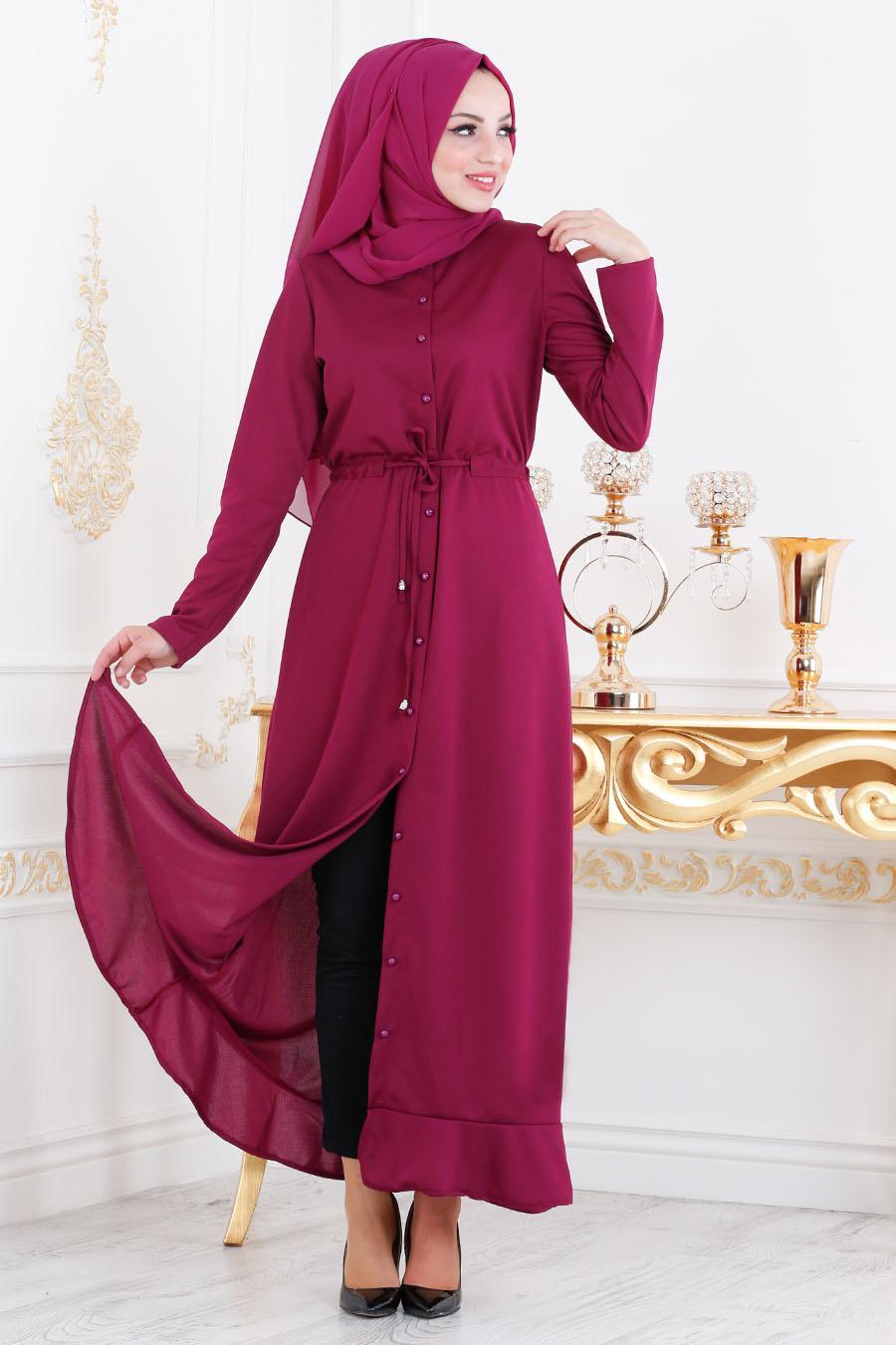 Nayla Collection - Etek Ucu Volanlı Mürdüm Tesettür Elbise 2090MU