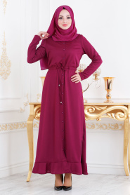 Nayla Collection - Etek Ucu Volanlı Mürdüm Tesettür Elbise 2090MU - Thumbnail