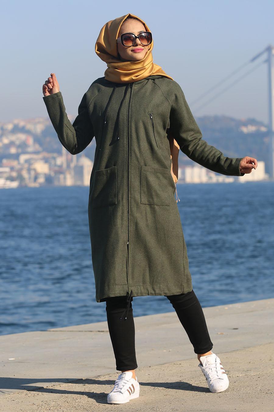 Nayla Collection - Fermuarlı Haki Tesettür Kap 2484HK