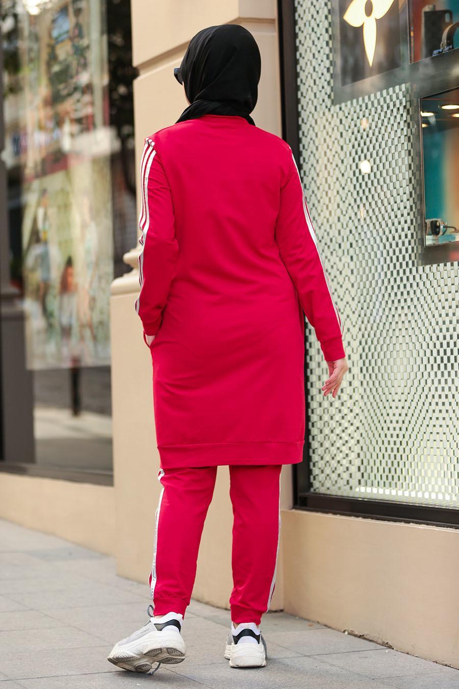Nayla Collection - Fermuarlı Kırmızı Tesettür Spor Takım 2304K