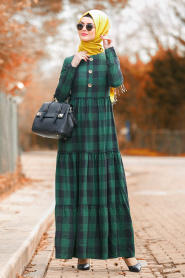 Nayla Collection - Fırfırlı Ekoseli Yeşil Tesettür Elbise 8373Y - Thumbnail