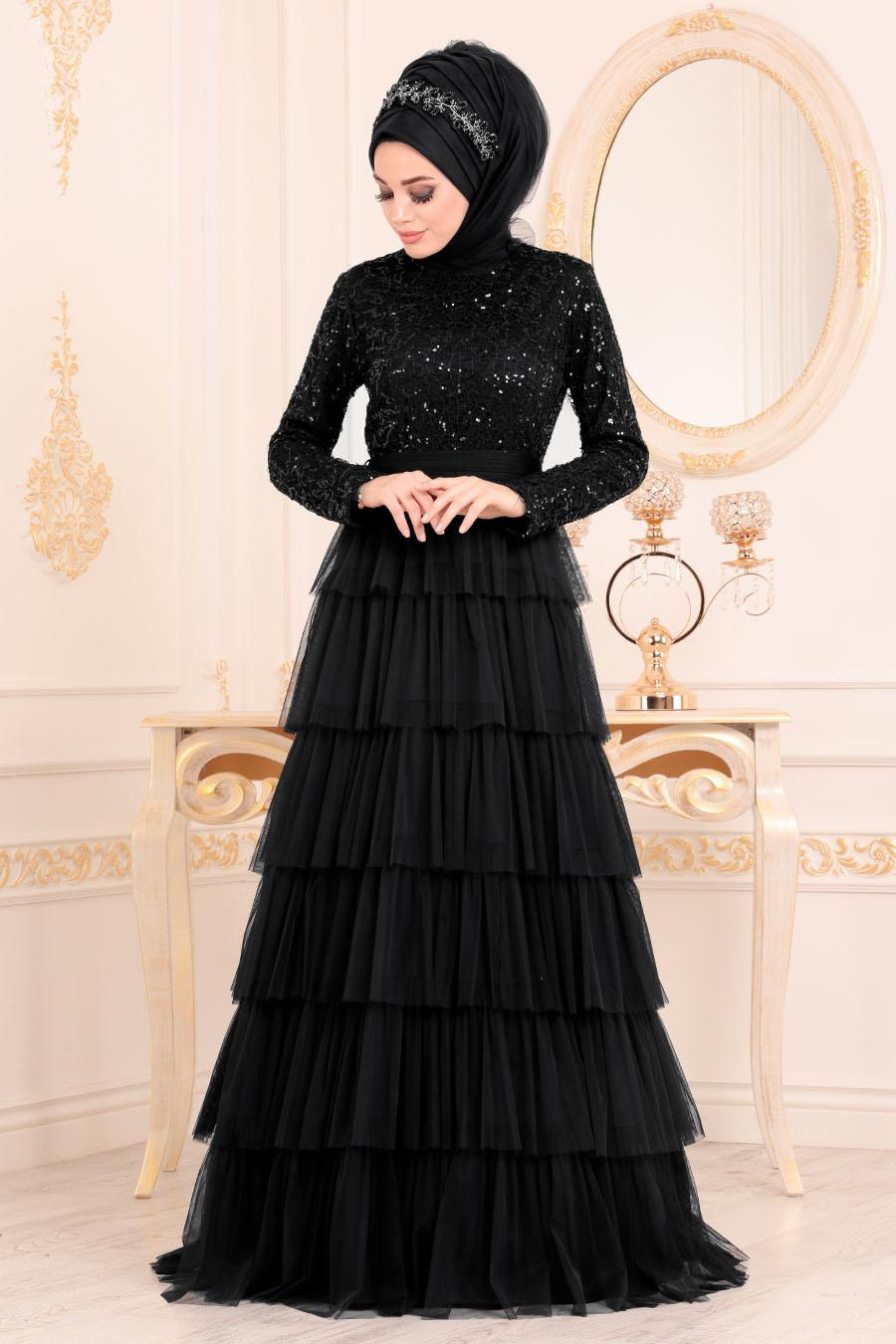 Nayla Collection - Fırfırlı Siyah Tesettür Abiye Elbise 25735S
