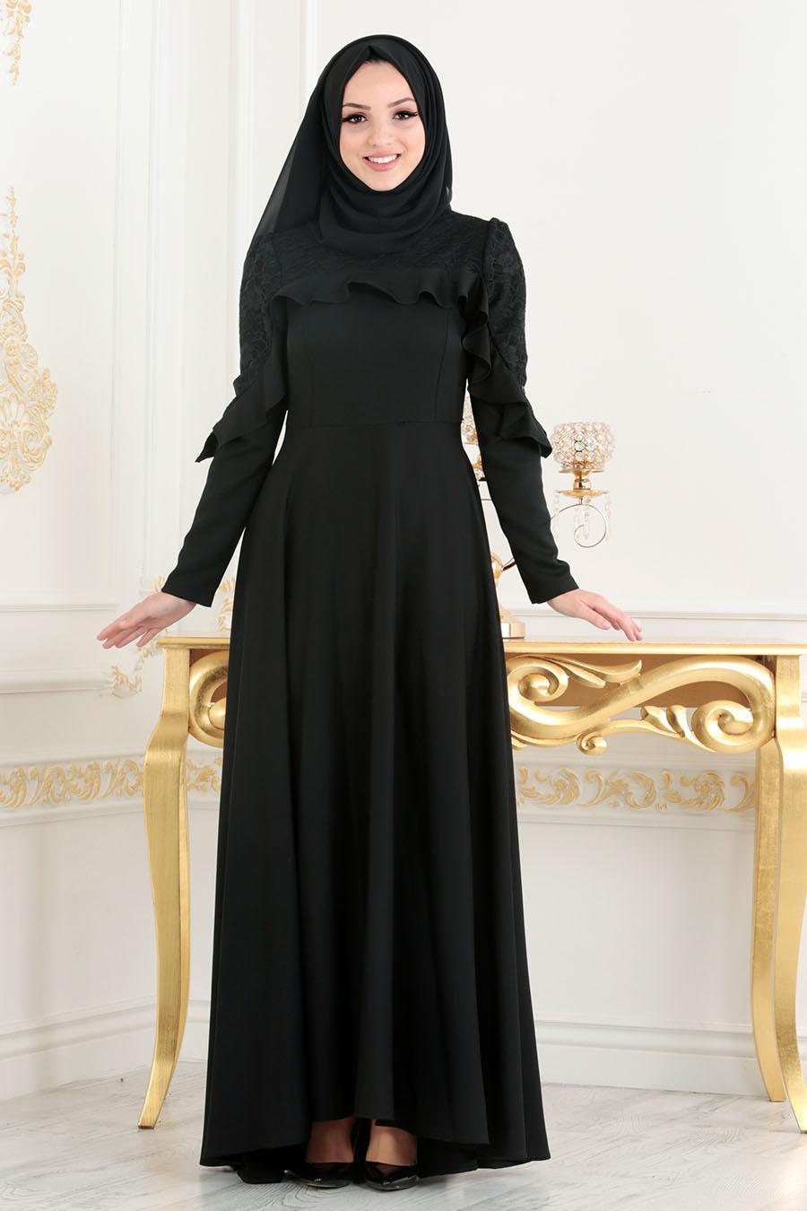 Nayla Collection - Fırfırlı Siyah Tesettür Elbise 42410S