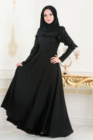 Nayla Collection - Fırfırlı Siyah Tesettür Elbise 42410S - Thumbnail