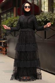 Tesettürlü Abiye Elbise - Fırfırlı Siyah Tesettür Abiye Elbise 8600S - Thumbnail