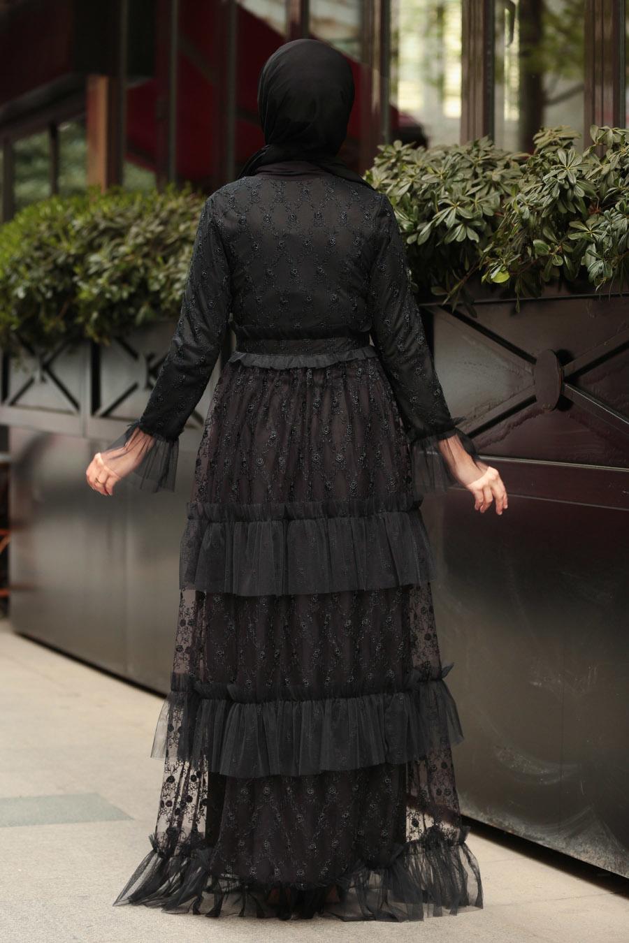 Tesettürlü Abiye Elbise - Fırfırlı Siyah Tesettür Abiye Elbise 8600S
