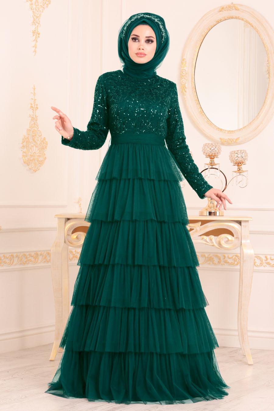 Nayla Collection - Fırfırlı Yeşil Tesettür Abiye Elbise 25735Y