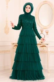 Nayla Collection - Fırfırlı Yeşil Tesettür Abiye Elbise 25735Y - Thumbnail