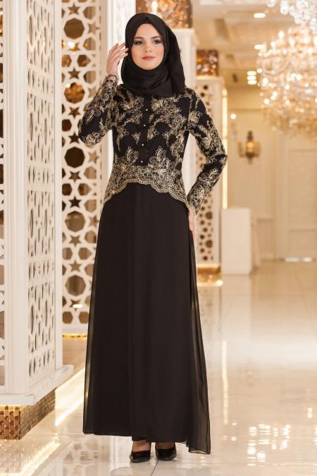 Nayla Collection - Fiyonk Detaylı Siyah Tesettür Abiye Elbise 52563-01S