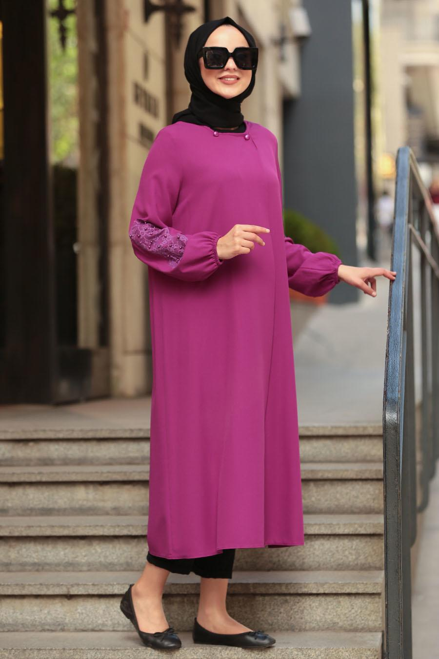 Nayla Collection -Fuchsia Hijab Coat 40340F