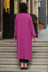 Nayla Collection -Fuchsia Hijab Coat 40340F - Thumbnail