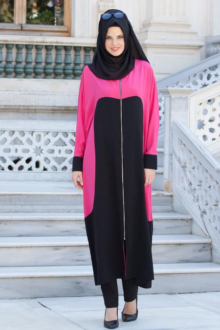 Nayla Collection - Fuchsia/Black Coat