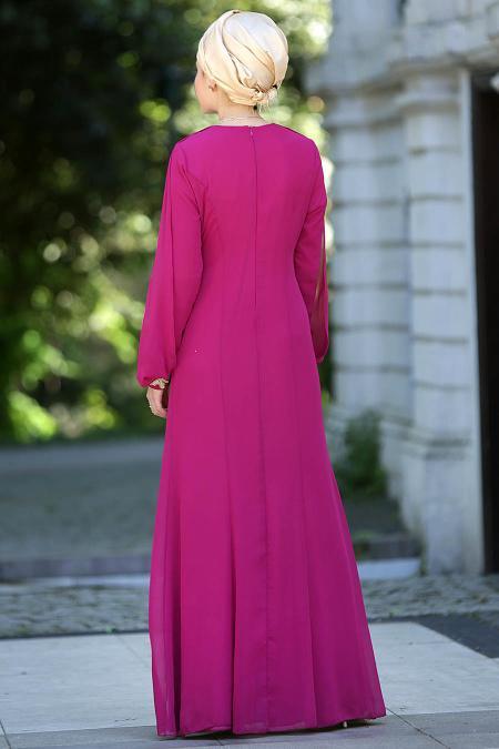 Nayla Collection - Fuşya Balık Elbise