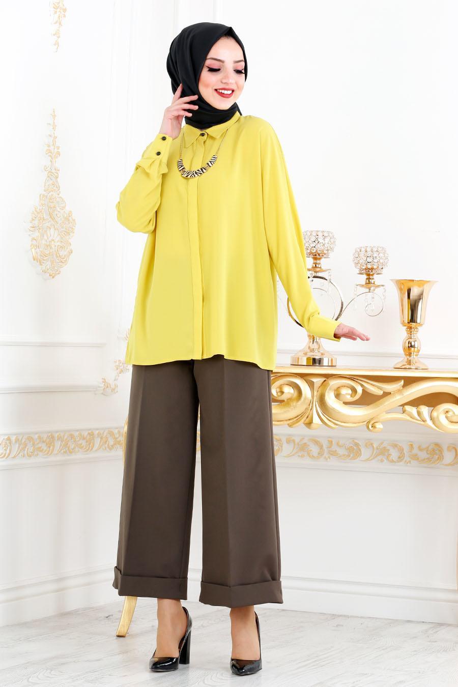 Nayla Collection - Gizli Düğmeli Asidik Sarı Tesettür Gömlek 621ASR