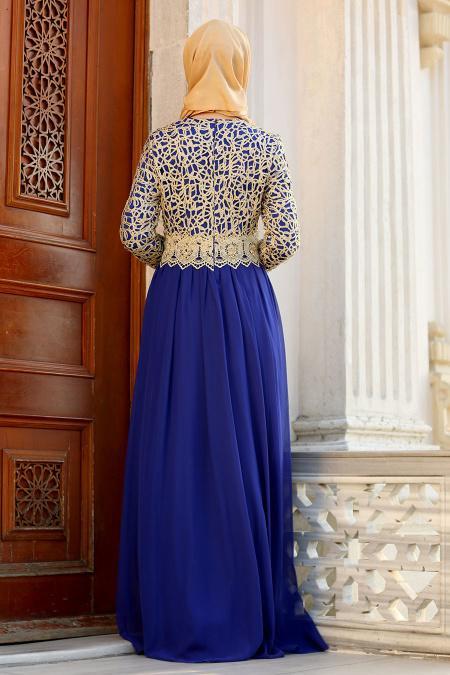 Nayla Collection - Gold Dantelli Sax Mavisi Tesettür Abiye Elbise 3347SX