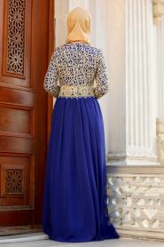 Nayla Collection - Gold Dantelli Sax Mavisi Tesettür Abiye Elbise 3347SX - Thumbnail