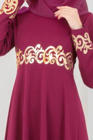 Nayla Collection - Gold Desenli Fuşya Tesettür Elbise 79550F - Thumbnail